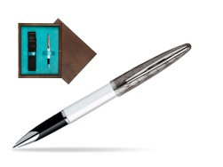 Waterman Carène Contemporary White and Gunmetal ST Rollerball in single wooden box  Wenge Single Turquoise