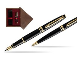 Waterman Expert Black GT Fountain Pen + Waterman Expert Black GT Ballpoint Pen in double wooden box Wenge Double Maroon