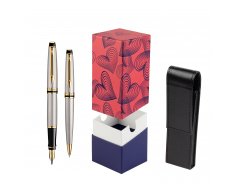 Waterman Expert Stainless Steel GT Fountain pen + Waterman Expert Stainless Steel GT Ballpoint Pen in gift box  StandUP Hot Hearts