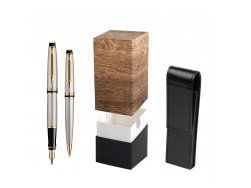 Waterman Expert Stainless Steel GT Fountain pen + Waterman Expert Stainless Steel GT Ballpoint Pen in gift box  StandUP Wood