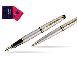 Waterman Expert Stainless Steel GT Fountain pen + Waterman Expert Stainless Steel GT Ballpoint Pen in Love Box