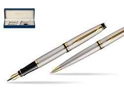 Waterman Expert Stainless Steel GT Fountain pen + Waterman Expert Stainless Steel GT Ballpoint Pen