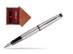 Waterman Expert Stainless Steel CT Fountain pen  in single wooden box Mahogany Single Maroon