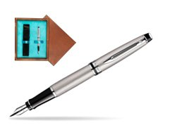 Waterman Expert Stainless Steel CT Fountain pen  in single wooden box  Mahogany Single Turquoise