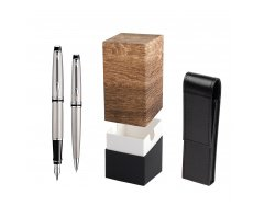 Waterman Expert Stainless Steel CT Fountain pen + Waterman Expert Stainless Steel CT Ballpoint Pen in gift box  StandUP Wood