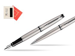 "Waterman Expert Stainless Steel CT Fountain pen + Waterman Expert Stainless Steel CT Ballpoint Pen in Gift Box ""Red Love"""