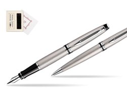 "Waterman Expert Stainless Steel CT Fountain pen + Waterman Expert Stainless Steel CT Ballpoint Pen in Gift Box ""Pure Love"""