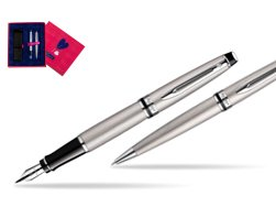 Waterman Expert Stainless Steel CT Fountain pen + Waterman Expert Stainless Steel CT Ballpoint Pen in Love Box