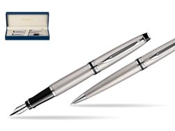 Waterman Expert Stainless Steel CT Fountain pen + Waterman Expert Stainless Steel CT Ballpoint Pen