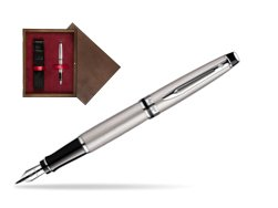 Waterman Expert Stainless Steel CT Fountain pen  in single wooden box  Wenge Single Maroon