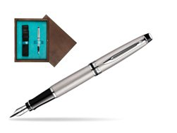 Waterman Expert Stainless Steel CT Fountain pen  in single wooden box  Wenge Single Turquoise