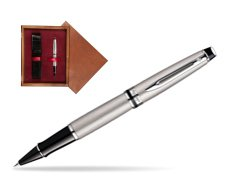 Waterman Expert Stainless Steel CT Rollerball pen in single wooden box Mahogany Single Maroon