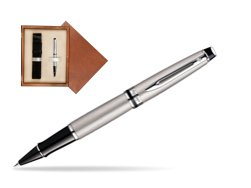 Waterman Expert Stainless Steel CT Rollerball pen in single wooden box  Mahogany Single Ecru