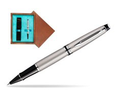 Waterman Expert Stainless Steel CT Rollerball pen in single wooden box  Mahogany Single Turquoise