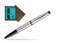 Waterman Expert Stainless Steel CT Rollerball pen in single wooden box  Wenge Single Turquoise