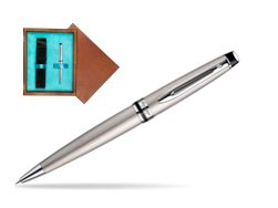 Waterman Expert Stainless Steel CT Ballpoint pen in single wooden box  Mahogany Single Turquoise