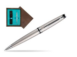 Waterman Expert Stainless Steel CT Ballpoint pen in single wooden box  Wenge Single Turquoise